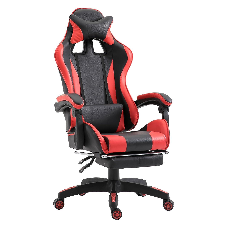 Homcom Fauteuil Gamer 66 L x 60 l x 127-134 H cm Rouge et Noir Design Racing et Ergonomique