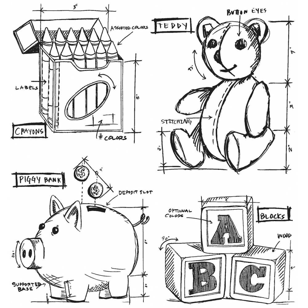 Stampers Anonymous Tim Holtz Cling Rubber Childhood Blueprint Stamp Set, 7 x 8.5