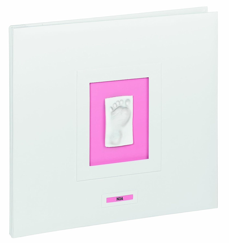 Baby Art 34120089 - Scrapbook - Hochwertiges Fotoalbum für Hand- oder Fußabdruck des Babys, weiß weiß