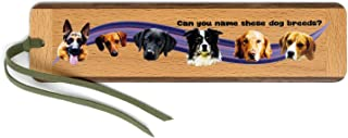 product image for Dog Breeds Quiz (Two-Sided) Handmade Wooden Bookmark with Suede Tassel - Dogs Include German Shepherd, Dachshund, Black Labrador, Border Collie, Golden Retriever, and Beagle