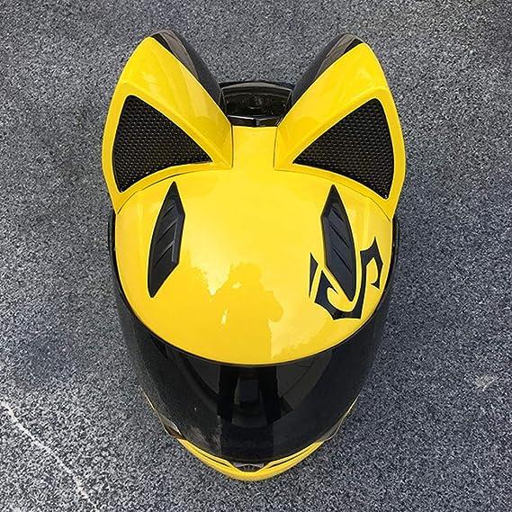 ECE//DOT Approvato Helmet,6,M53~55cm Creativo Horn off Road del Casco di Motocross per Uomini E Donne Adulti Casco del Motociclo con Lorecchio del Gatto Gatto Orecchie del Casco
