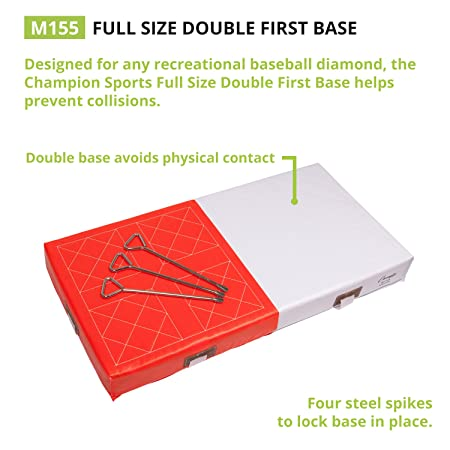 Amazon.com : Orange U0026 White Double First Base: Champion Sports Foam Filled  Base   Nylon Straps And Metal Spikes : Baseball Bases : Sports U0026 Outdoors  Double First