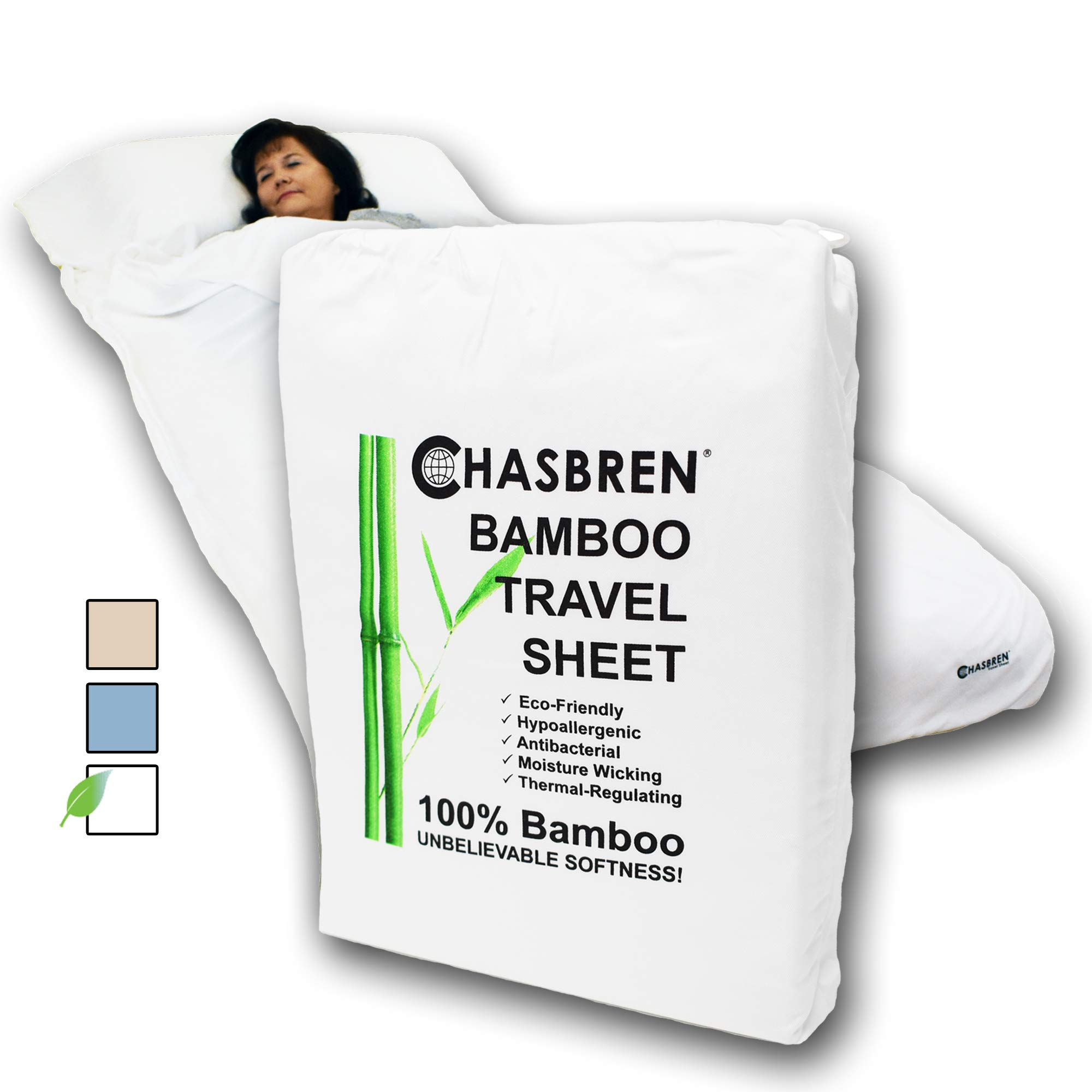 Chasbren Travel Sheet - 100% Bamboo Travel Bedding for Hotel Stays and Other Travels - Soft Comfortable Roomy Lightweight Sleep Sheet, Sack, Bag, Liner - Pillow Pocket, Zippers, Carry Bag (White) by Chasbren