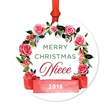 Merry Christmas Niece.Andaz Press Round Metal Christmas Ornament Merry Christmas Niece 2019 Red Flowers Banner