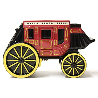 "Wells Fargo Coin Bank, Metal Stage Coach Coin Bank, Locking Coin Bank 5"" x 3"": Home & Kitchen"