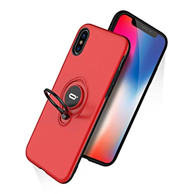 DESOF iPhone X Case, iPhone 10 Case with Ring Holder Kickstand, 360°Adjustable Ring Grip Stand Work with Magnetic Car Mount Anti-Fingerprint Slim Cover for Apple iPhone X (2020) 5.8 inch - Red
