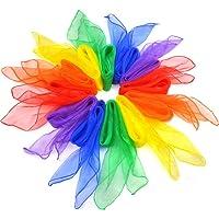 Jmkcoz 12pcs Square Juggling Silk Dance Scarves Magic Tricks Performance Props Accessories Movement Scarves Rhythm Band…