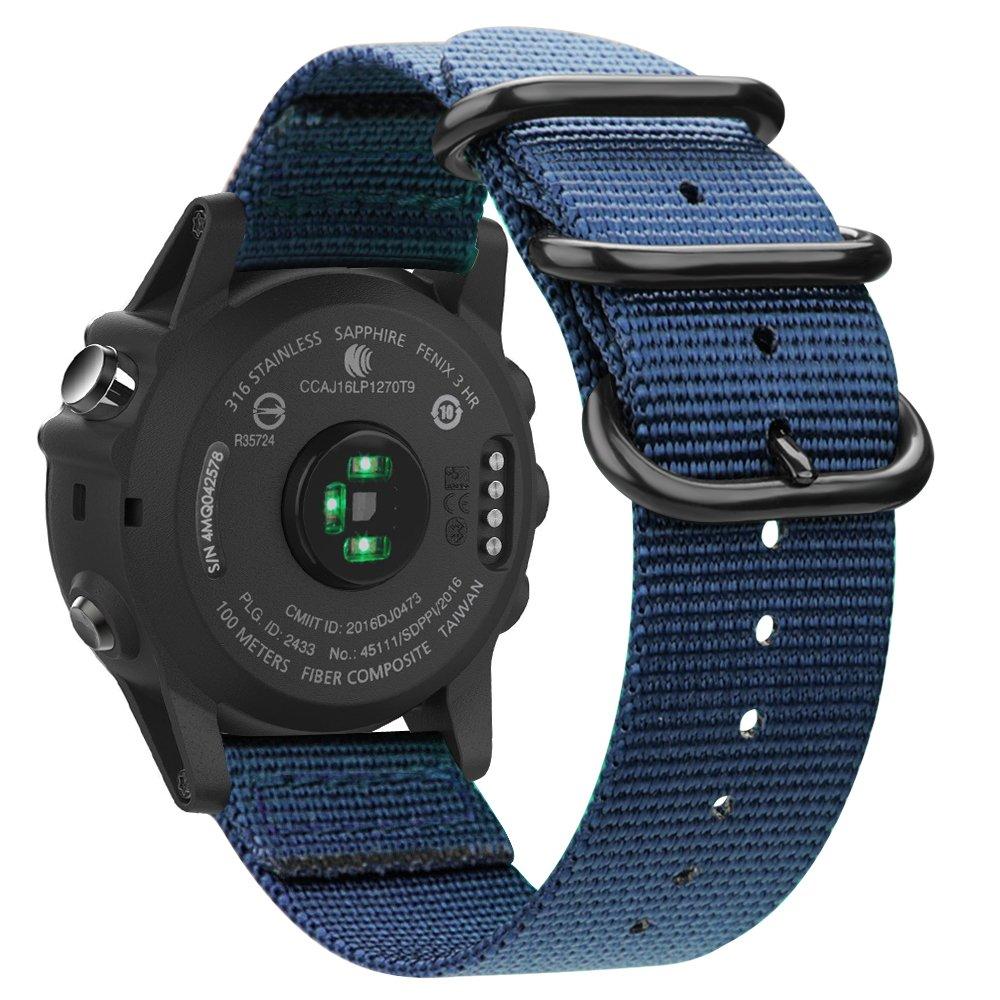Fintie Band for Garmin Fenix 5X Plus/Fenix 3 HR Watch, 26mm Premium Woven Nylon Bands Adjustable Replacement Strap for Fenix 5X/5X Plus/3/3 HR Smartwatch - Navy Blue