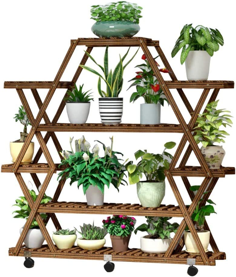 RomanticDesign Plant Stand Shelf Indoor Outdoor, 6 Tier Tiered Wood Plant Flower Pots Shelves Rack Holder Stand for Multiple Plants Garden Balcony Patio Living Room -D7