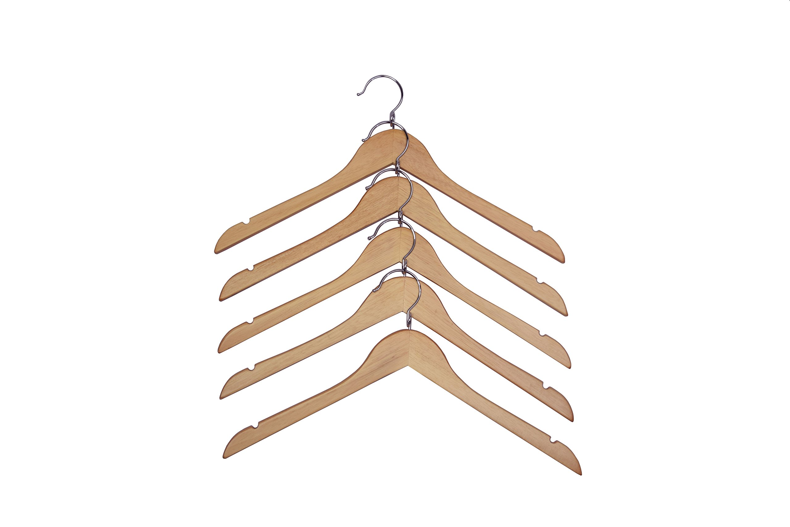Proman Products Kascade Wooden Hanger with Shoulder Notches, Natural, 50 Piece / Box