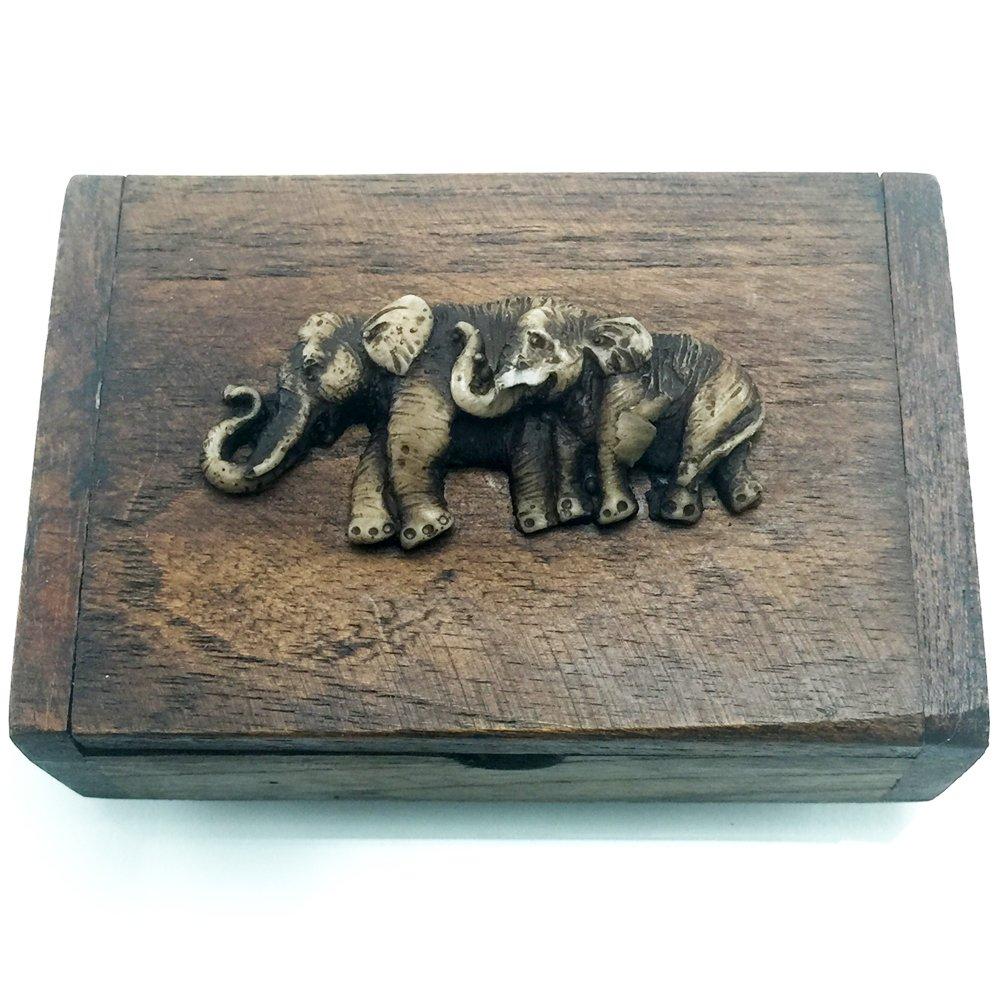 THAI Elephant Name Card Jewelry Earrings Rings Necklace Trinket Storage Teak Wood Box #0201