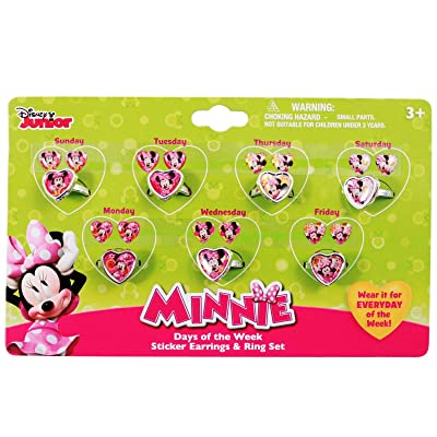 Minnie Mouse Bow-tique 7 Day a Week Ring and Sticker Earring Set: Toys & Games