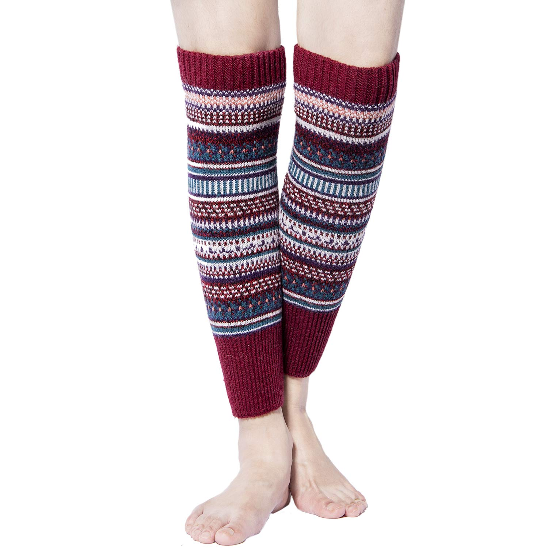 Womens Winter Warm Cable Knit Leg Warmers Crochet Knitted Long Socks YSense