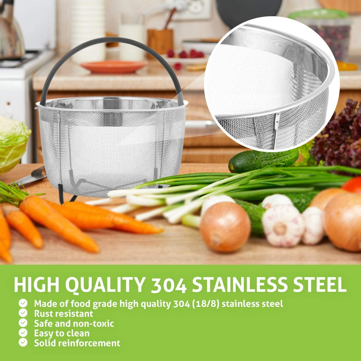 3 Quart Chef/'s Star Kitchen Steamer Basket /& Strainer Excellent For Eggs Vegetables 2 Silicone Sealing Rings For Instant Pot Noodles Etc Instant Pot Pressure Cooker Compatible Spaghetti