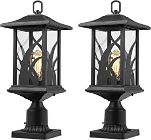 Beionxii Outdoor Post Light Fixtures | Twin Pack Exterior Pillar Lantern Outside Lamp Post with 3-Inch Pier Mount Adapter, Sand Textured Black Cast Aluminum with Clear Glass - A331P-2PK