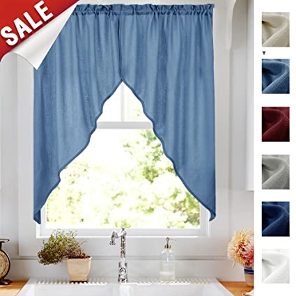 Amazon Com Privacy Semi Sheer Window Swags For Kitchen Casual Weave