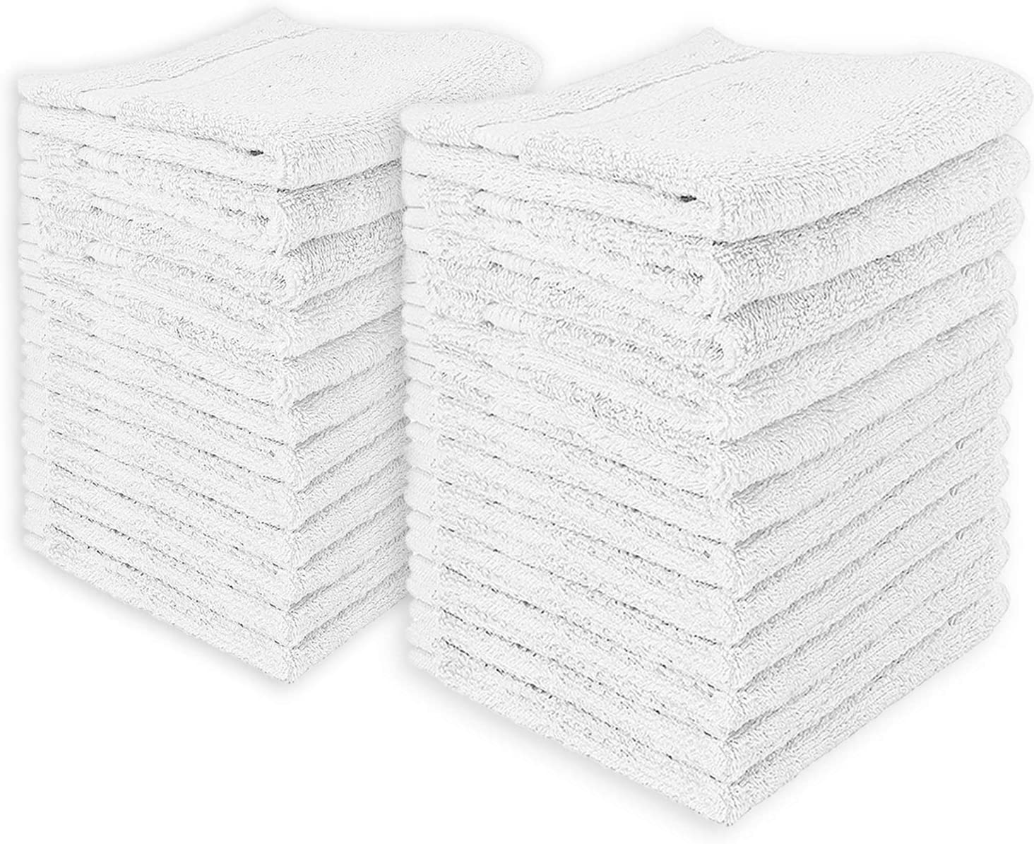 24-Pack White Washcloths - Premium Cotton Face Cloths with Double Stitched Side Hem - Multi-Purpose Wash Rags, Bathroom Towel, Kitchen Towel, and Gym Towel - Machine Washable