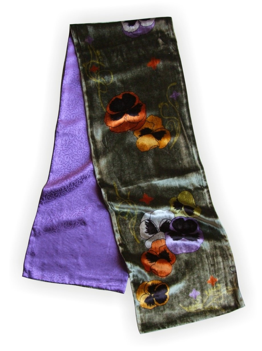 JJcollection Silk Base Velvet Scarf, Pure Silk Lining, 58''Lx10''W, Pansy, Green/Violet by JJ Collection