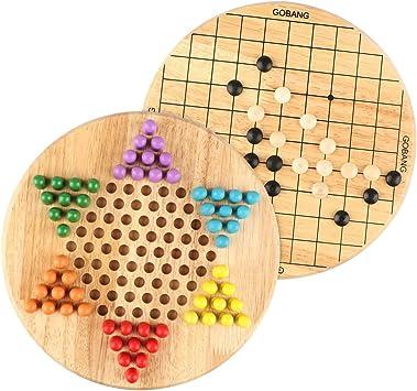 Wondertoys 2 en 1 Damas Chinas y Juego de Mesa de Madera Gobang para la Familia: Amazon.es: Juguetes y juegos