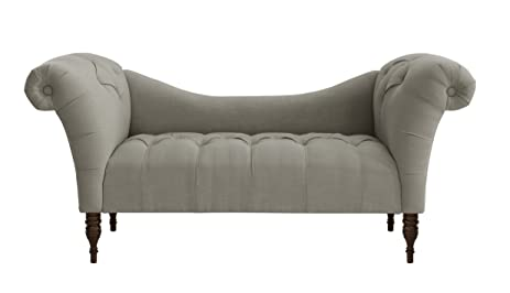 Amazon Skyline Furniture Tufted Chaise Lounge in Linen Grey