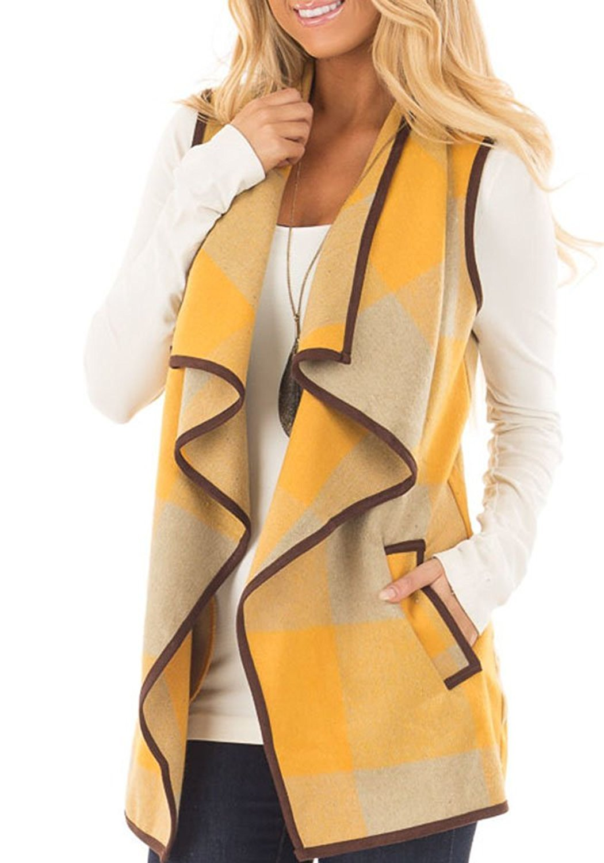 Womens Vest Jackets Sleeveless Cardigans Drape Front Long Plaid Cardigan with Pockets (Medium, Yellow)