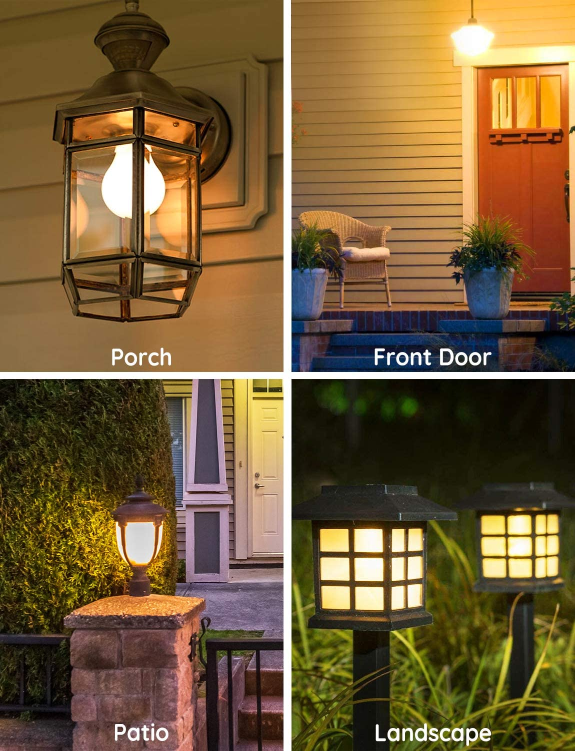 E26//E27 Energy Saving Blubs for Garage Stairs Porch Courtyard Basement Patio 2 Pack Soft White Light Blubs 7W 2700K 600lm Auto On//Off Smart Bulb Govee Dusk to Dawn Light Bulbs Outdoor