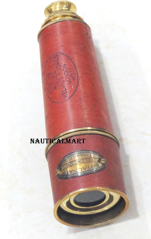 NauticalMart 16 Royal Navy Brass Pirate Leather Telescope W// Wooden Box Gift