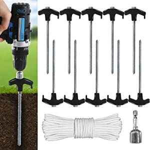 ABCCANOPY Ground Anchor Screw Kit, Drillable Garden Shed Stakes, Ideal for Anchoring Trampoline, Tree, Swing, Bonus Adapter, tie-Downs