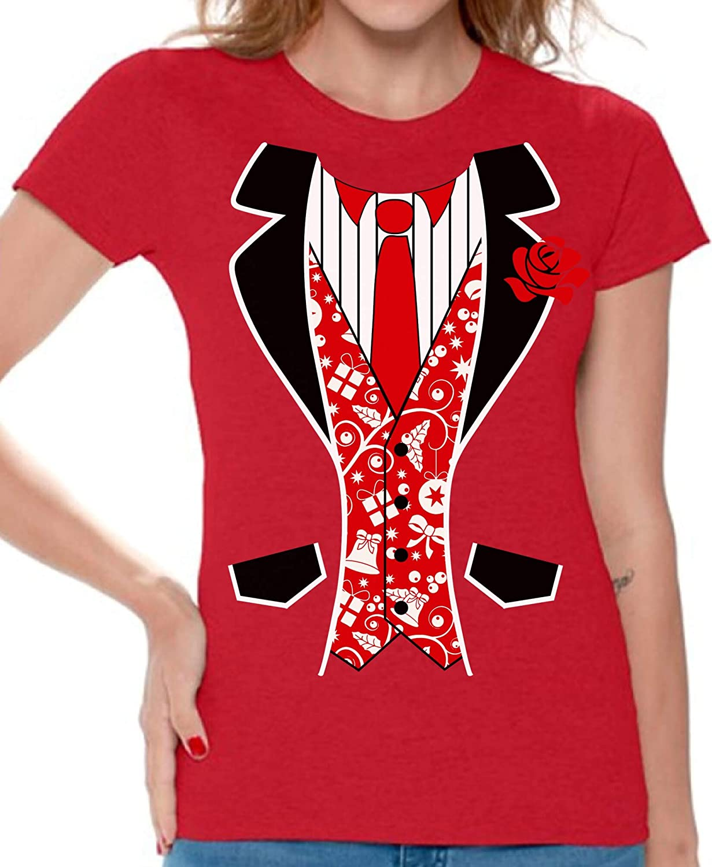 8e87c2402 Amazon.com: Awkward Styles Red Tuxedo Women's Tshirt Tuxedo Ugly Christmas  T Shirt Xmas Gift: Clothing