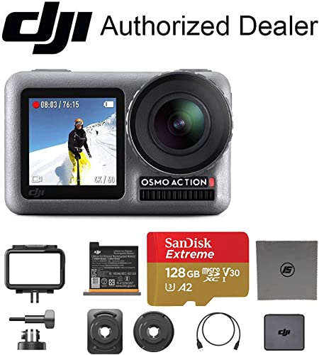 DJI OSMO Action Dual Touch Display Waterproof Digital Action Camera with 4K HD Video 12MP Photos Live Streaming Stabilization 128GB Memory