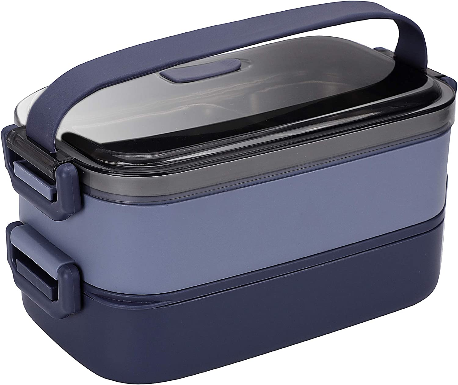 304 Stainless Steel Bento Lunch Box, Leakproof Stackable 2-Tier Design, 2-In-1 Divided Compartments, Large Capacity Lunch Food Salad Storage Container with Cutlery Set for Adults Outdoor&Office Blue