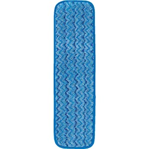 Rubbermaid Commercial Products HYGEN Microfiber Damp Room Mop Pad, 18-inch, Blue (FGQ41000BL00)