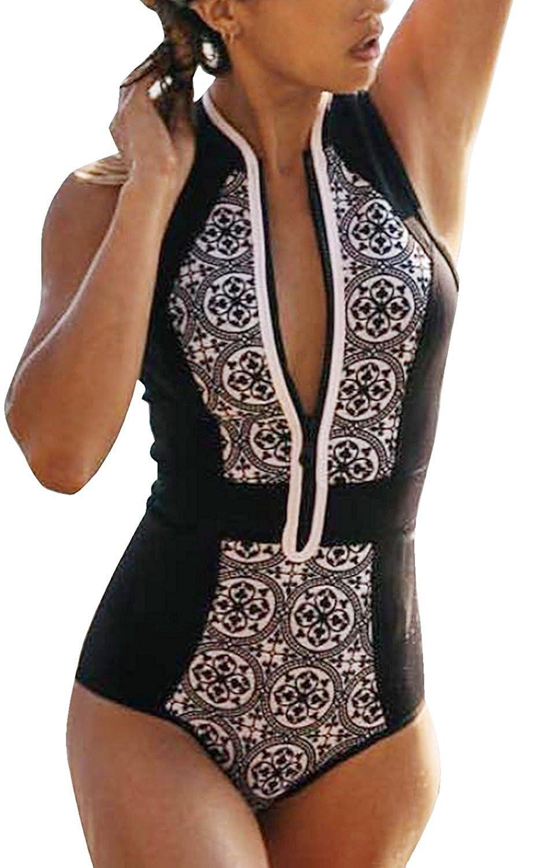 Damen Soft Cups Badeanzug Turnanzug Strandoverall Strand Sommerkleid Flacher Bauch Cellulite Vintage Geometrie Printed Schlank Frontreißverschluss Essential S-Xl