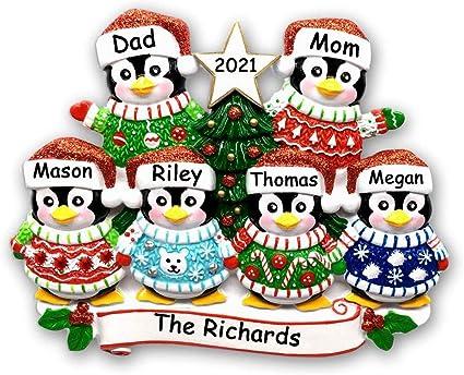 Family Keepsake Holiday Family Ornament Custom Christmas Gift Personalized Family Penguin Ornament Family Name Ornament