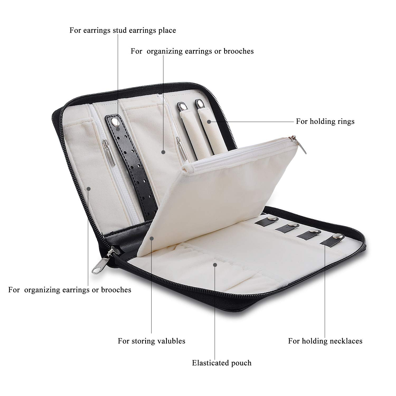 WEIYISS.inc Black ONLVAN Travel Jewelry Case Travel Jewelry Organizer Zipper Small Jewelry Bag with Removable Panel for Storage Withe