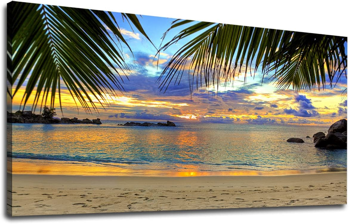 "Canvas Wall Art Tropic Beach Sunset Palm Tree Leaves Large Nature Canvas Pictures Coast Landscape Canvas Artwork Seascape Ocean Contemporary Wall Art for Living Room Home Office Wall Decor 20"" x 40"""