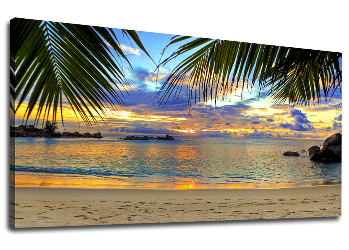"yearainn Large Canvas Wall Art Tropic Beach Sunset with Palm Tree Leaves Painting Long Canvas Artwork Seascape Ocean Contemporary Nature Picture for Home Office Wall Decor 24"" x 48"""