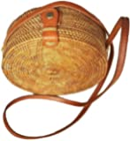 Rattan Nation - Handwoven Round Rattan Bag (Flower Weave), Round Bag, Straw Bag, Bali Bag