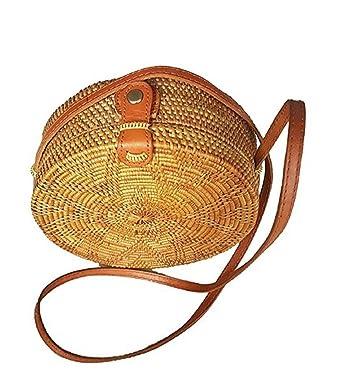 Amazon Com Rattan Nation Handwoven Round Rattan Bag Flower