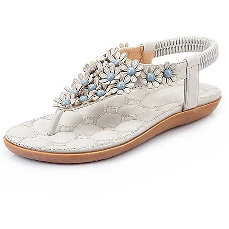 SJYO Women's Flat Sandals Flip Flop Slippers Sandals Flat Beach Sandals for women B071GJL9MY 7 B(M) US|Grey