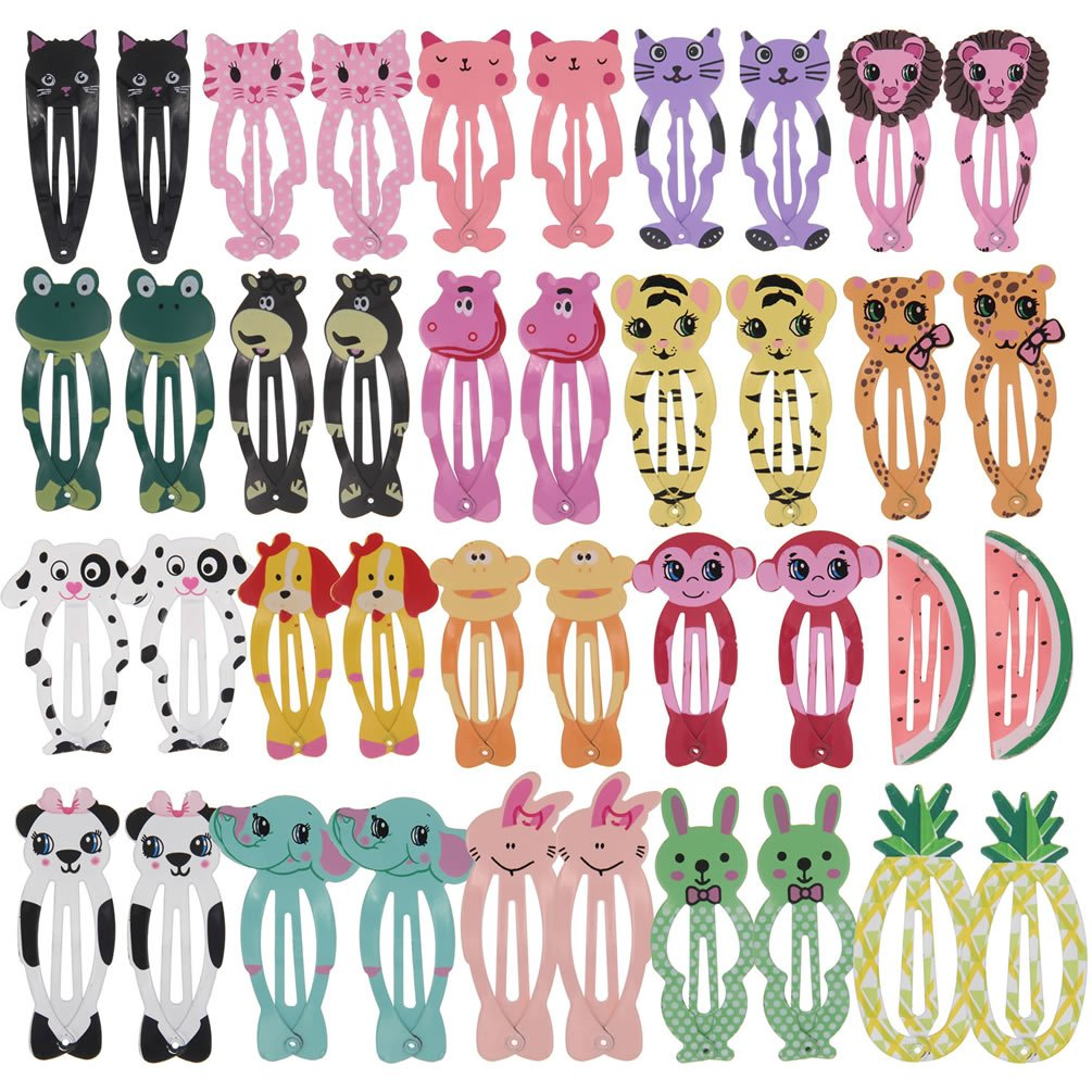 inSowni 40 Pack 2'' Snap Hair Clips Non Slip Barrettes Animal Print for Baby Girl Toddlers Fine Thick Hair (40PCS S1)