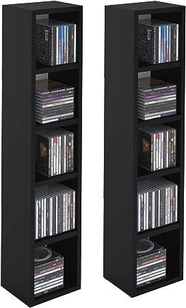 Etagères Noir modulables DVDLot 2 Compartimentsen CD en 10 mélaminé Mat de pour IDIMEX Musique avec Meubles Colonne de Rangement et nwkOP0