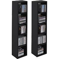 IDIMEX Etagères modulables Musique pour CD et DVD, Lot de 2 Meubles de Rangement en Colonne avec 10 Compartiments, en mélaminé