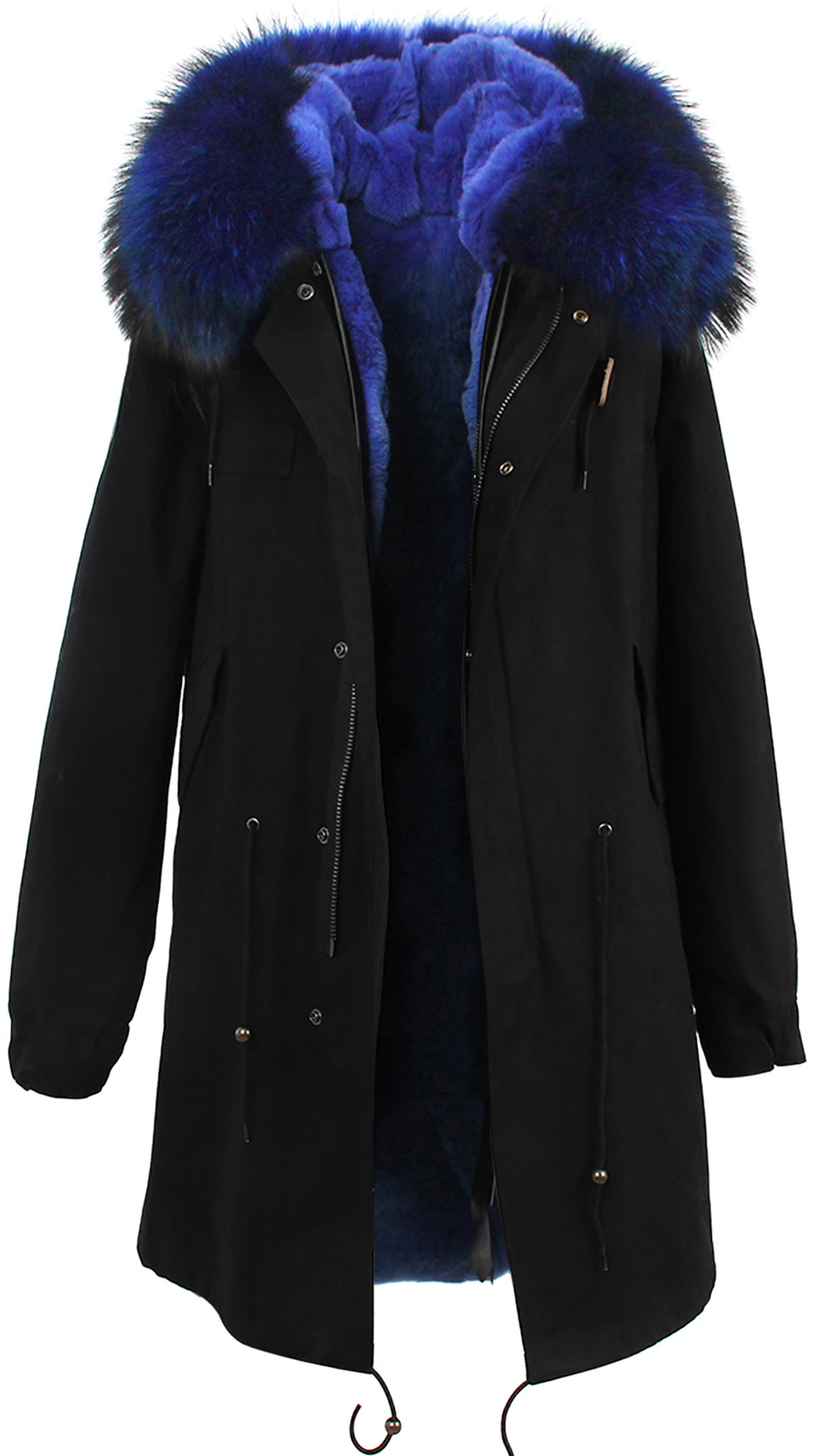 S.ROMZA Women Real Raccoon Fur Collar Parka Real Fur Liner Long Hood Coat (Large, Blue Collar+Blue Liner) by S.ROMZA