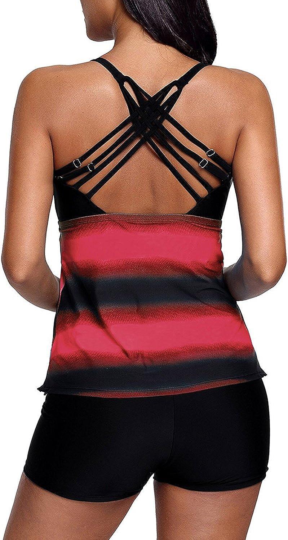 Sixyotie Damen Mehrfarbig Tankini mit Oberteile und Badeshorts Badeanzug Beachwear Zweiteiler Bademode mit B/ügeln UV Schutz