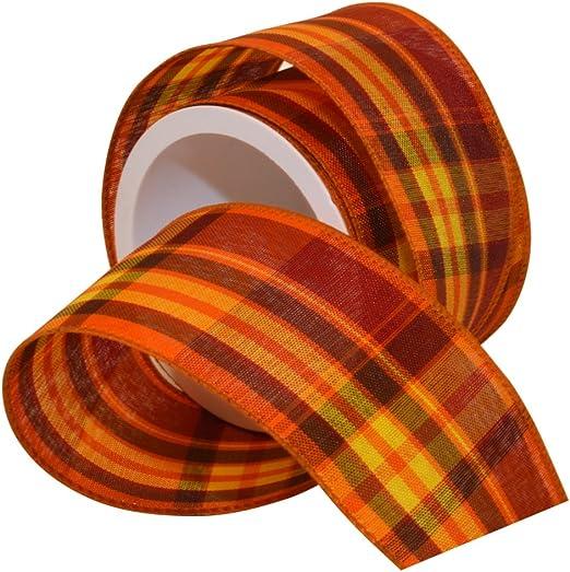 Morex Ribbon Autumn Hayride Plaid Wired Fabric Ribbon 2-1//2 In x 50-Yd Orange