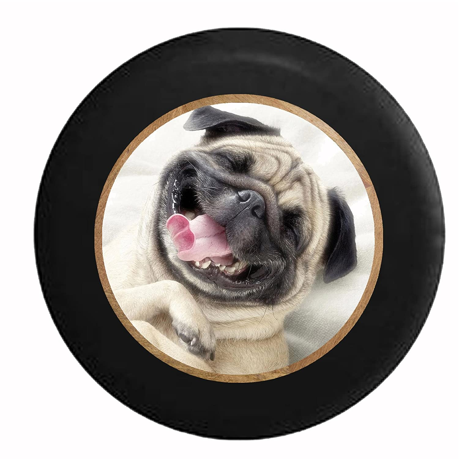 Full Color Smiling Pug Dog Cute Pet Jeep RV Camper Spare Tire Cover Black 26-27.5 in