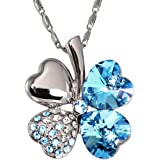 """Dahlia Four Leaf Clover Necklace with Swarovski Crystals, Rhodium Plated, 16"""" with 2"""" Extender"""