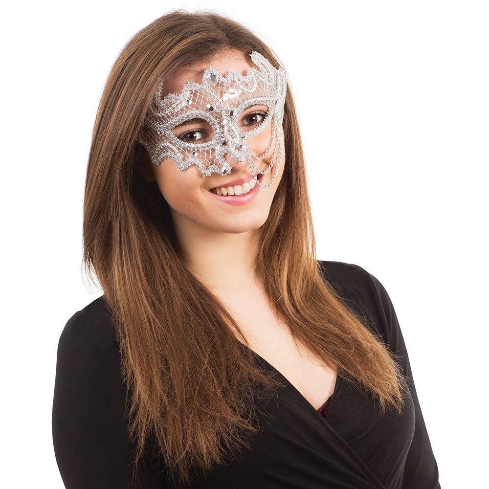 Silver & White Decorative 3 4 Mask On Glasses Frame