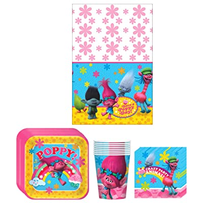 Trolls Birthday Party Supplies Bundle Kit Including Plates, Cups, Napkins and Table cover - 8 Guests: Toys & Games